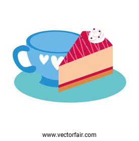 sweet cake portion dessert with beverage cup