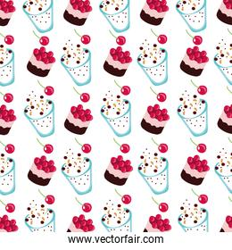 sweet cake with cherries and ice creams dessert pattern