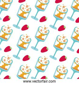 sweet cups with ice cream and strawberries dessert pattern