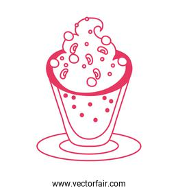 sweet cup with ice cream dessert