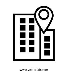building with pin pointer location line style icon