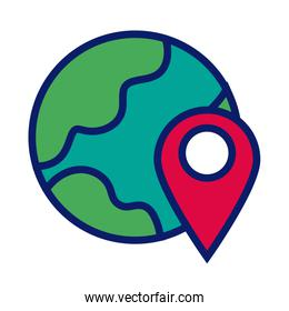 world planet with pin pointer location line and fill style icon
