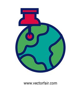 world earth with paper pin line and fill style icon