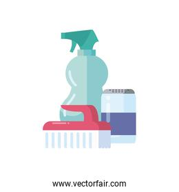 brush spray bottle and detergent box flat style icon vector design