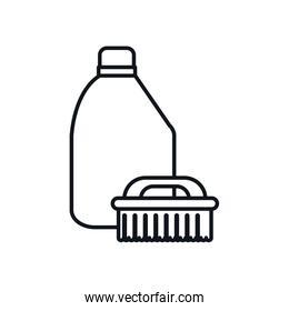 brush and detergent bottle line style icon vector design