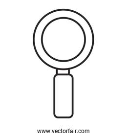 magnifying glass icon over white background