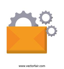 gear wheels and envelope icon, colorful design