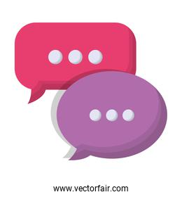 colorful speech bubbles icon over white background