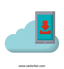 cloud and smartphone with download arrow