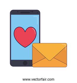 envelope and smartphone with heart icon, colorful design