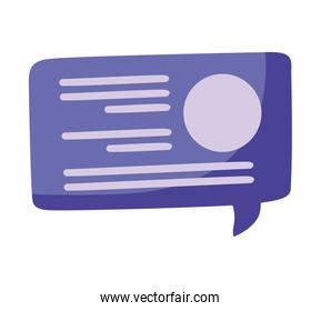 purple speech bubble icon, colorful design