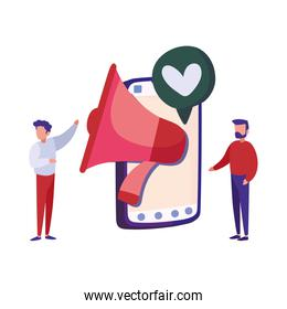 men standing and smartphone with megaphone and speech bubble with heart icon