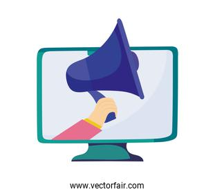 computer with hand holding a megaphone, colorful design