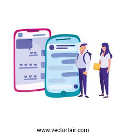 smartphones and young woman and man standing around