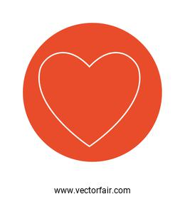 heart icon over red circle and white background