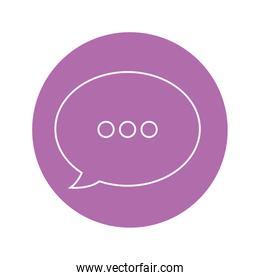 speech bubble icon over purple circle and white background