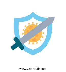 stop covid19 concept, shield with coronavirus symbol and crossed sword, flat style