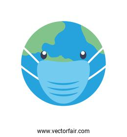 stop covid19 concept, cartoon earth planet with mouthmask icon, flat style
