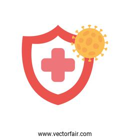 stop covid19 concept, shield with coronavirus symbol and medical cross icon, flat style
