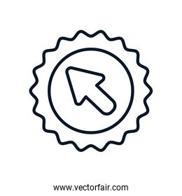 shopping online concept, seal with cursor icon, line style