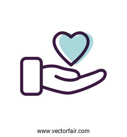 healthcare concept, hand with heart icon, line color style