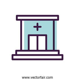 healthcare concept, hospital building icon, line style