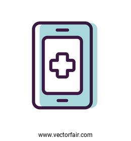 healthcare, smartphone with medical app icon, line color style