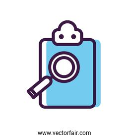 medical report and magnifying glass icon, line color style