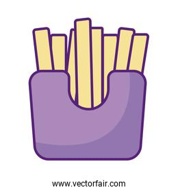 french fries box icon, flat style