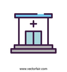 healthcare concept, hospital building icon, line color style