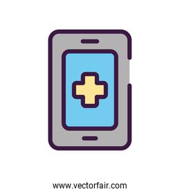 healthcare concept, smartphone with medical app icon, line color style