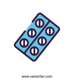 healthcare concept, medication blister icon, line color style