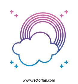 rainbow and cloud icon, gradient line style