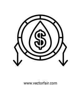 oil crash concept, oil drop with money symbol and arrows around, line style