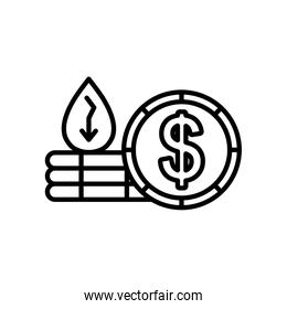 oil crash concept, oil crash concept, money coin and oil drop on stacks and financial arrow down, line style