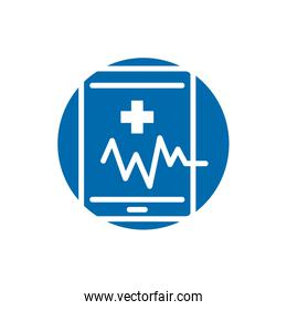 medical ekg cardiology in smartphone block icon