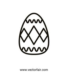 easter egg painted with geometric lines line style