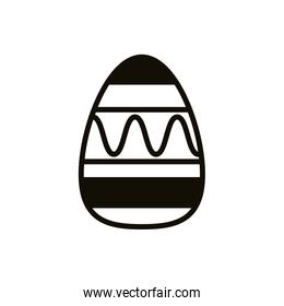 easter egg painted with waves lines line style
