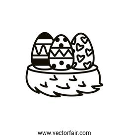 easter eggs painted line style icons