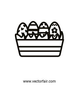 easter eggs painted in ceramic pot line style icons