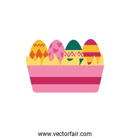 easter eggs painted in ceramic pot flat style icons