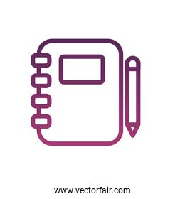 notebook with pen supply line style icon