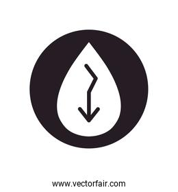 oil crash concept, oil drop with down arrow icon, silhouette style