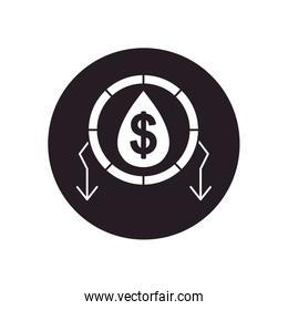 oil crash concept, oil drop with money symbol and arrows around, silhouette style