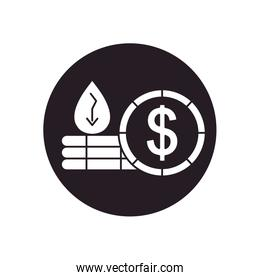 oil crash concept, oil crash concept, money coin and oil drop on stacks and financial arrow down, silhouette style