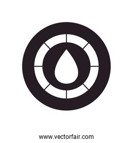 oil crash concept, circular frame with oil drop icon, silhouette style