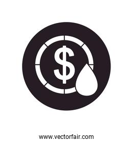 oil crash concept, money coin with oil drop icon, silhouette style
