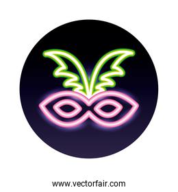 carnival mask neon light style icon