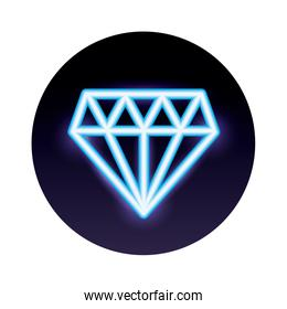 diamond stone neon light icon