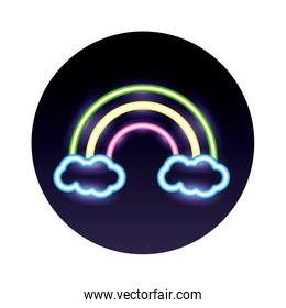 rainbow and clouds neon lights style icon